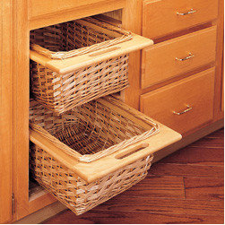 "Cabinet Accessories - Rattan Basket with rails and clear plastic liner for 15"""" Base Cabinet"