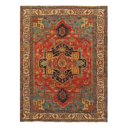 """Pasargad - Pasargad Serapi Collection Heriz Hand-Knotted Wool Traditional Area Rug- 6X9 - """"The brand Pasargad is the perfect blend of class and elegance. These rugs bring traditional sophistication to your home. These rugs feature 100% fine pure lambs wool, hand-knotted into elegant designs, perfect for your elegant decor. The varying pile heights will add a spark of interest to these rugs. Each rug has a dense, soft pile and excellent quality, to ensure that you will enjoy the look and feel of your rug for years to come."""""""