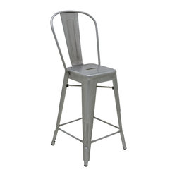 """Nuevo Living - Ferrer Counter Stool by Nuevo - Indoor or Outdoor - HGMS107 - The Ferrer counter stool featured a galvanized steel finish which makes it suitable for indoor or outdoor use.  The seat height is 25.5"""" and seat depth is 12"""".  Footrest height is 8""""."""