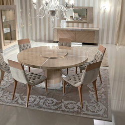 Giorgio Collection - Giorgio Collection SUNRISE round dining table with Lazy Susan. A combination of noble materials like champagne bird's eye maple and stainless steel, creates a perfect harmony for everyday living. Crafted in Italy.