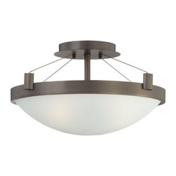 George Kovacs - George Kovacs 3-Light Semi-Flush, Bronze Patina - Three light semi-flush with white frosted glass bowl diffuser. Available in brushed nickel or copper bronze patina finish.