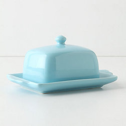 Tea and Toast Butter Dish, Blue - Butter dishes may be slightly old fashioned, but I adore their classic look. This porcelain one in sky blue makes for the perfect fridge-to-table presentation.