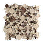 Bubbles Dark Polished Circle Pattern Mesh-Mounted Marble - Circles Pattern Bubbles Dark Emperador Polished & Froasted Mesh-Mounted Marble & Glass Mosaic Tiles is a great way to enhance your decor with a traditional aesthetic touch. This Mosaic Tile is constructed from durable, impervious Marble & Glass material, comes in a smooth, unglazed finish and is suitable for installation on floors, walls and countertops in commercial and residential spaces such as bathrooms and kitchens.