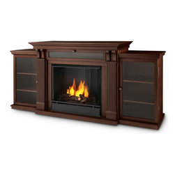 Real Flame - Ashley Entertainment Home Theater Media Center and Gel Door Fireplace, Espresso - Based on a best selling favorite, the Ashley Entertainment Mantel features ample storage thanks to a drop down center glass door and dual side cabinets. Capable of safely supporting a television of 100 lbs. or less while adjustable shelving accommodate most electronics and other objects. The hand-painted log set and bright crackling flame add to the realistic look of this Real Flame Gel Fuel Fireplace. Uses 3 - 13oz. cans of Real Flame Gel Fuel. Available in Dark Walnut and Dark Espresso finishes.