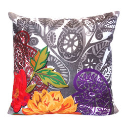 Vintage Maya - Barcelona Abstract Paisley Pillow Cover - Brightly colored flowers superimposed upon paisley prints create a striking visual effect on this Barcelona-inspired pillow cover. It's an impressive accent piece for your sofa or bed.