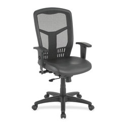 Lorell - Lorell Executive High-Back Mesh Chair - Leather Black Seat - Steel Frame - High-back mesh chair offers a mesh back and eco-leather seat with plastic-coated steel frame. Ergonomically high back is perfect for supporting the natural curvature of the spine. Arms with polyurethane arm pads adjust in height and width. Functions include pneumatic seat-height adjustment, seat-glide mechanism, 360-degree swivel, tilt tension and synchronized knee tilt. High-back chair meets the CA117 fire-retardant standard.