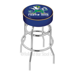 "Holland Bar Stool - Holland Bar Stool L7C1 - 4 Inch Notre Dame (Leprechaun) Cushion Seat - L7C1 - 4 Inch Notre Dame (Leprechaun) Cushion Seat w/ Double-Ring Chrome Base Swivel Bar Stool belongs to College Collection by Holland Bar Stool Made for the ultimate sports fan, impress your buddies with this knockout from Holland Bar Stool. This L7C1 retro style logo stool has a 4"" cushion with a tough double-ring base and a chrome finish. Holland Bar Stool uses a detailed screen print process that applies specially formulated epoxy-vinyl ink in numerous stages to produce a sharp, crisp, clear image of your desired logo. You can't find a higher quality logo stool on the market. The structure is triple chrome-plated to ensure a rich, polished finish that will last ages. If you're going to finish your bar or game room, do it right- with a Holland Bar Stool. Barstool (1)"