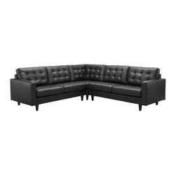 LexMod - Empress 3 Piece Leather Sectional Sofa Set in Black - End the rule of unjust sovereignties that wage a useless war for your interiors. Empress leaves the would be heiress of holistic furnishings in the dust, with a design that rivals any competitor. Empress is heralded with deeply tufted buttons, plush cushions and armrests that convey that perfect air of nobility. The solid wood legs come with plastic glides to prevent floor scratching, and the bonded leather upholstery leaves the recipients feeling richly rewarded.