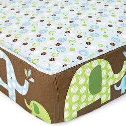 """Skip Hop - Skip Hop Complete Sheet Elephant Parade - Final Sale - The Elephant Parade collection by Skip Hop adds whimsy to the nursery with an adorable family of elephants in shades of blue, green and brown. Skip Hop's patent-pending Complete Sheet is a safe yet decorative alternative to a traditional crib bumper. This """"engineered"""" sheet offers bold graphics around the sides of the mattress with a contrasting pattern on top of the sheet. Made from 200-thread count cotton sateen. Machine washable. 28"""" x 52"""". Fits all standard crib mattresses. 200 thread-count, 100% cotton sateen."""