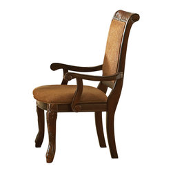 """Steve Silver Furniture - Steve Silver Harmony Arm Chair in Brown Poly-Cotton (Set of 2) - Intricate Georgian-style carvings give the Harmony dining collection an antique feel, adding warmth and formality to any dining area. The harp back arm chair has a dark oak finish, an upholstered box seat, and carvings decorating the back and legs. Let this arm chair take its place at the head of the Harmony table. chair dimensions are 25"""" x 27"""" x 41""""."""