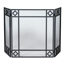 UniFlame - 3-Fold Black Wrought Iron Screen with Diamond Design - Series: Black Wrought Iron