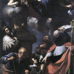 """Guercino  A Donor Presented to the Virgin - 16"""" x 24"""" Premium Archival Print - 16"""" x 24"""" Guercino  A Donor Presented to the Virgin premium archival print reproduced to meet museum quality standards. Our museum quality archival prints are produced using high-precision print technology for a more accurate reproduction printed on high quality, heavyweight matte presentation paper with fade-resistant, archival inks. Our progressive business model allows us to offer works of art to you at the best wholesale pricing, significantly less than art gallery prices, affordable to all. This line of artwork is produced with extra white border space (if you choose to have it framed, for your framer to work with to frame properly or utilize a larger mat and/or frame).  We present a comprehensive collection of exceptional art reproductions byGuercino ."""