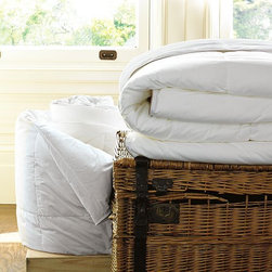 Organic Comforters - With their 230-thread-count organic-cotton shells, these down-and-feather duvets are naturally comforting. Each one is filled with a goose-down blend that's been treated with Freshness Assured, a meticulous 15-step cleaning process that makes the down hypoallergenic and ensures its purity and loft. The duvet is also available with a down-alternative fill.
