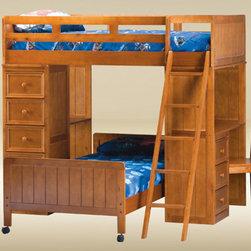 Pecan Loft Bed with Desk - Pecan Loft Bed with Desk.