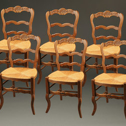 Antique Dining Chairs - Set of 6 country antique French Neo Rustique side chairs, circa 1890.
