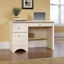 "Sauder - Harbor View Computer Desk in Antique White - Features: -Computer desk.-Perfect easy-living cottage look, an eclectic piece of graceful yet simple detailing is highlighted.-Large drawer and shelf with metal runners and safety stops.-Lower drawer holds letter size hanging files.-Flip down panel for keyboard and mouse.-Made in USA.-Harbor view collection.-Distressed: Yes.-Collection: Harbor View.-Country of Manufacture: United States.-Desk Type: Computer Desk.-Top Finish: Antique White.-Base Finish: Antique White.-Accent Finish: Antique White.-Powder Coated Finish: No.-Gloss Finish: No.-UV Finish: No.-Top Material : Engineered wood.-Base Material: Engineered wood.-Hardware Material: Wood.-Edge Detail: Molding.-Non-Toxic: Yes.-Water Resistant: No.-Stain Resistant: Yes.-Heat Resistant: Yes.-Style: Cottage.-Design: Rectangular.-Hardware Finish: Antique white.-Eco-Friendly: Yes.-Cable Management: No.-Keyboard Tray: Yes.-Height Adjustable: No.-Drawers Included: Yes -Number of Drawers: 3.-File Drawer: Yes.-Drawer Glide Material : Metal runners with safety stops.-Safety Stop : Yes.-Soft-Close Drawer: Yes.-Locking Drawer: No.-Ball Bearing Glides: Yes.-Joinery Type : Hidden cams and dowels.-Drawer Handle Design: Knob..-Pencil Drawer: Yes.-Jewelry Tray: No.-Exterior Shelving : No.-Cabinets Included: No.-Ergonomic Design: No.-Handedness: both.-Scratch Resistant: Yes.-Chair Included: No.-Legs Included: No.-Hutch Included: No.-Treadmill Included: No.-Cork Back Panel: No.-Modesty Panel : Yes -Modesty Panel Details: 3/4..-CPU Storage: No.-Built In Outlet: No.-Built In Surge Protector: No.-Light Included: No.-Finished Back: Yes.-Tipping Prevention: No.-Modular: No.-Lifestage: Teen-adult.-Compatibility: Accepts items in Harbor View Collection Antique White.-Commercial Use: No.-Product Care: Wipe with damp cloth.-Weight Capacity: 70 lbs.-Swatch Available: Yes.-Recycled Content: Yes -Remanufactured/Refurbished : No..Specifications: -FSC Certified: Yes.-EPP Certified: Yes.-CARB Compliant: Yes.-ISTA 3A Certified: Yes.-Green Guard Certified: No.-ANSI BIFMA Certified: No.-SCS Certified: No.Dimensions: -Overall Height - Top to Bottom: 28.98"".-Overall Width - Side to Side: 43.47"".-Overall Depth - Front to Back: 19.45"".-Desk Return: No.-Credenza: No.-Bridge: No.-Cabinet: No.-Drawer: Yes.-Shelving: Yes.-Seat: No.-Desktop Height: 29"".-Desktop Width - Side to Side: 43.5"".-Desktop Depth - Front to Back: 19.5"".-Knee Space Height: 23.5"".-Knee Space Width: 26.13"".-Hutch : No.-Legs: No.-Overall Product Weight: 100 lbs.Assembly: -Two drawers with patented T-lock assembly system.-Assembly required.-Assembly Required: Yes.-Tools Needed: Phillips screwdriver and hammer.-Additional Parts Required: No.Warranty: -Manufacturer provides 5 year warranty.-Product Warranty: 5 years."