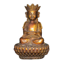 Golden Lotus - Unique Chinese Antique Brass Lotus Stand Sitting Buddha Statue - This sitting Buddha statue is made of bronze and has very detailed carving. He is sitting on a lotus stand and in a meditation position. This is a prayer's item and also collectable.