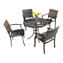 Home Styles - Home Styles Stone Harbor Table & 4 Newport Arm Chairs in Black/Slate - Home Styles - Patio Dining Sets - 56013081 - The Stone Harbor 5PC Dining Set Includes Stone Harbor Outdoor Dining Table and Four Newport Arm Chairs. Stone Harbor Dining Table top is constructed of small square slate tiles in a naturally occurring gray variation. The table top also features a center opening that can be used for an umbrella or can be closed with the included black cap for a continuous surface. The cabriole designed base is constructed of a powder coated steel frame in a Black finish. Adjustable nylon glides prevent damage to surfaces caused by movement and provide stability on uneven surfaces.Features: