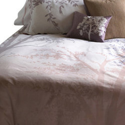 Blissliving Home - Amelie Duvet Set, Full/Queen - You'll fall into the sweetest slumber ever with this cotton set, inspired by the view from Paris' Pont Neuf. The duvet's misty tree silhouettes appear across a white-to-blush ombré background, while the complementary pillow shams feature cascading leaves.