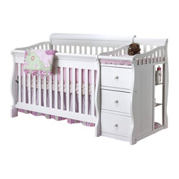 Sorelle - Sorelle Tuscany 4 in 1 Convertible Crib and Changer Combo in White - Sorelle - Cribs - 1050GW - The Tuscany 4-in-1 Convertible Crib is a stylish modern designed crib made of solid sturdy construction with recessed hardware for your child's safety. The Tuscany Crib can be used a crib daybed toddler bed or full size bed using optional wooden conversion rails. This is an excellent space saver for smaller baby rooms when used as a Crib and 3-drawer chest. This crib grows with your child; seeing them through from birth to college. This versatile 4 in 1 crib and more converts to a toddler bed; bay bed or Full Size Adult Bed Side Rails. This is an excellent space saver for smaller baby rooms when used as a crib and 3-drawer chest.