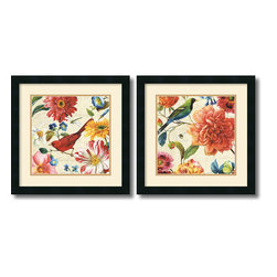 Amanti Art - Rainbow Garden Cream - set by Lisa Audit - Decorate with springtime year round with these garden floral pieces by Lisa Audit.