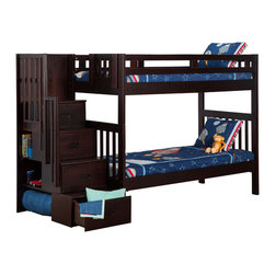 Atlantic Furniture - Cascade Staircase Bunk Bed Twin Over Twin / Espresso - Featuring classic mission styling in a rich espresso finish and constructed of solid wood using mortise and tenon joinery. The Stair Case can be set up at either end of the bunk and features drawers with metal euro glides and book shelves.
