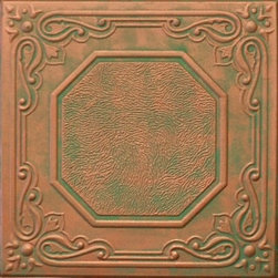 R 32 Styrofoam Ceiling Tile 20x20 - Copper Patina - Is a beautiful square tile that measures 20x20 inches and weights only about 4 oz.  This tile is hand painted to look as Antique Copper.  It can be installed over most ceiling surfaces including drywall, plaster, stucco and even popcorn ceilings.