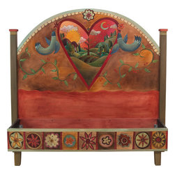 "Sticks Furniture - Sticks Furniture Queen Headboard With Foot Rail BED034 - A one-of-a-kind headboard with foot rail that is hand carved with romantic details and charming scenery. Inscribed with the simple thought ""Love Life""  above the heart framed scene of a quaint home set on farmland and rolling hills. The rainbow of warm, rich colors can easily mesh with any main color palette while the piece itself will stand out as a collector's item."