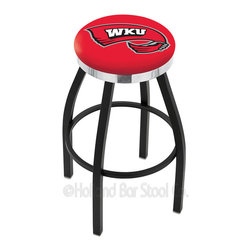 "Holland Bar Stool - Holland Bar Stool L8B2C - Black Wrinkle Western Kentucky Swivel Bar Stool - L8B2C - Black Wrinkle Western Kentucky Swivel Bar Stool w/ Chrome Accent Ring belongs to College Collection by Holland Bar Stool Made for the ultimate sports fan, impress your buddies with this knockout from Holland Bar Stool. This contemporary L8B2C logo stool has a single-ring black wrinkle base with a 2.5"" cushion and a chrome accent ring that helps the seat to ""pop-out"" at glance. Holland Bar Stool uses a detailed screen print process that applies specially formulated epoxy-vinyl ink in numerous stages to produce a sharp, crisp, clear image of your desired logo. You can't find a higher quality logo stool on the market. The plating grade steel used to build the frame is commercial quality, so it will withstand the abuse of the rowdiest of friends for years to come. The structure is powder-coated to ensure a rich, sleek, long lasting finish. Construction of this framework is built tough, utilizing solid mig welds. If you're going to finish your bar or game room, do it right- with a Holland Bar Stool. Barstool (1)"