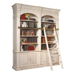 Bordeaux Double Library Unit with Ladder - I love the built-in custom look of this Bordeaux Double Library Unit.  It even comes with a ladder which adds to its custom look.  Several of these along a wall would create a beautiful library effect.
