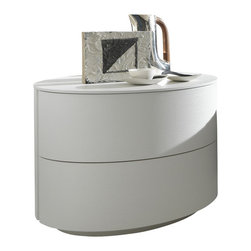 Rossetto - Moon White Nightstand - The Moon White Rossetto Night Stand offers a new take on a bedroom must-have. The oval shape puts it in a class all its own and the two drawers extend into the oval itself. No shortage of drawer space in this Italian-inspired design. The pedestal base is only slightly smaller in circumference, though maintains the elegant shaping efforts. The white lacquer finish is a clean and airy look for a contemporary bedroom.
