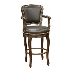 American Heritage - American Heritage Salvatore 30 Inch Barstool in Buckeye and Roma Leather - The eye is immediately drawn to the classic nail head trim around the back, arms and seat of the Salvatore bar stool. The exquisite design of the wood frame finished in buckeye has a mortise and tenon construction making this piece beautiful and durable. The padded backrest is full integrated and the plush, 3-inch cushioned, web woven seat is covered in bonded roma leather as well as the padded armrests. The 360-degree metal ball bearing swivel minimizes movement across the floor. What's included: Barstool (1).