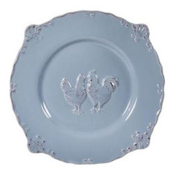 """Home Essentials - Sweet Olive Embossed Rooster Antique Blue  Salad Plate - Here is something to crow about: Our Sweet Olive Embossed Rooster-themed  dinnerware makes rising more exciting, and breakfast more enticing!  These ceramic 8.75"""" salad  plates are microwave, and dishwasher safe- A  wise choice for casual entertaining.Complete  your dinnerware set with  its lovely coordinates."""