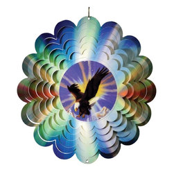 Great World - 12 Inch Flying Eagle with Sun Background Metal Painted Wind Spinner - This gorgeous 12 Inch Flying Eagle with Sun Background Metal Painted Wind Spinner has the finest details and highest quality you will find anywhere! 12 Inch Flying Eagle with Sun Background Metal Painted Wind Spinner is truly remarkable.
