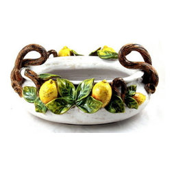 Artistica - Hand Made in Italy - Robbiana: Oval Bowl with Hand-Applied Lemons and Branch - The Arabesco evokes Italian country charm and is one of the most popular patterns created in Deruta - Italy.