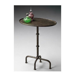 Butler - Pedestal Table w Oval Top and Rustic Finish - Finished metal base. 19 3/4 in. W x 11 3/4 in. D x 26 in. H