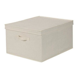 Home Decorators Collection - Canvas Storage Box with Lid - Whether for under-the-bed storage or to organize the shelf space in your closets, these folding, collapsible bins are a wonderful storage solution for your home. These deep, canvas bins are perfect for oddly shaped items and fold flat when not in use. Make your storage space more efficient; order yours today. Smooth and sturdy blended canvas storage box provides durable, lasting storage.  Reinforced sides provide stability and stackability.