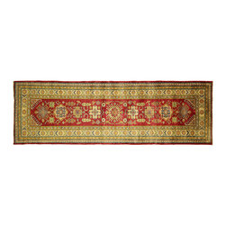 Manhattan Rugs - New Genuine Persian Kazak Runner 3'x9' Hand Knotted Oriental Red Wool Rug H3478 - This is a true hand knotted oriental rug. it is not hand tufted with backing, not hooked or machine made. our entire inventory is made of hand knotted rugs. (all we do is hand knotted)
