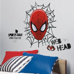 Roommates Decor - Spiderman Ultimate Spider-Man Web Head Giant Peel & Stick Wall Decals - Are you a web head? Spider-Man fans of all ages will love transforming their rooms with this edgy set of wall stickers. Just stick them up and move them around when you need to make a change! They're a great compliment to existing Spider-Man decor, or as a piece of decor in your den or comic book room!