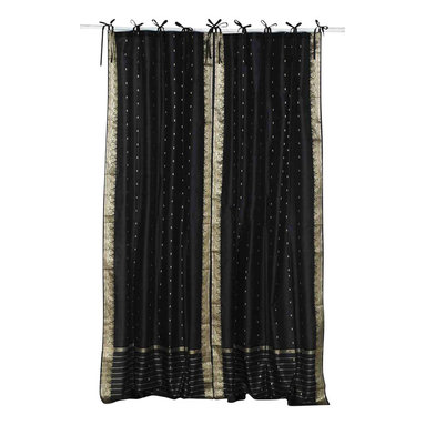 Indian Selections - Pair of Black Tie Top Sheer Sari Curtains, 43 X 108 In. - Size of each curtain: 43 Inches wide X 108 Inches drop