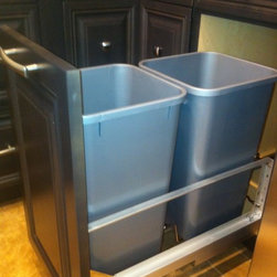 Gem Cabinets Showroom - Door mounted double garbage bin pull-out