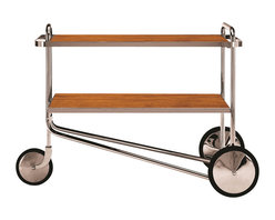 Matrix Internnational - Breuer Cart, Cherry - The prototype for Breuer's serving cart first appeared with spoked wheels in the Thonet catalog of 1930-31. The production version with chrome disc wheels was later shown at the Salon des Artistes Decorateurs in 1931. The shelves are available in plastic laminate, lacquer, ash, or cherry with a chrome-plated flat bar steel border. The frame is constructed of chrome-plated tubular steel. The wheels are chrome-plated brass with rubber tires. Right now this is a special order from Italy but soon we will start keeping limited stock for immediate delivery.