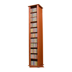 Venture Horizon - Revolving Media Tower-2 Sided - Cherry - Organize An Entire Media Collection. These 4 sided beauties will brighten up any room. Because they rotate a full 360 you will never have to strain your neck locating your favorite CD, DVD, Video or Cassette. There are five models from which to choose so identifying the perfect match should be easy. Nearly all the shelves are adjustable so even odd sized media like Disney Tapes can be accommodated. Constructed from durable melamine laminated particle board these towers are stain resistant and easy to clean. The front panels and top/bottom panels on Models: 2021, 2022, 2381, 2391 and 2392 are gently molded and stylishly contoured to add real value. We just added a 2 sided Revolving Media Tower available in 2 sizes and 4 colors. In addition you get to choose your base. Pick one to match the tower or select black (special order) to accent the units beauty. Assembly required. Made in the USA.