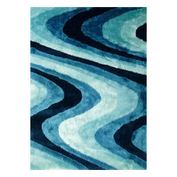 Rug - ~5 ft. x 7 ft. Shaggy Living Room Turquoise Area Rugs , Hand-tufted - Living Room Hand-tufted Shaggy Area Rug