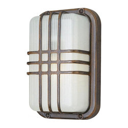 Joshua Marshal - One Light White Frosted Polycarbonate Rectangle Ribbed Glass Wall Light - One Light White Frosted Polycarbonate Rectangle Ribbed Glass Wall Light