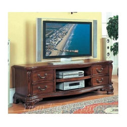 Yuan Tai - Dasan TV Console in Dark Cherry Finish - Four drawers. Two open shelves. Intricate resin carvings. Distressed finished. Warranty: Six months limited. Made from solid hardwood and veneers. No assembly required. 70 in. W x 24 in. D x 24 in. H (165 lbs.)Yuan Tai is the premier importer or distributor of an extensive line of home furnishings, ranging from bedroom, dining and living room furniture, occasional tables, lamps and accent pieces.