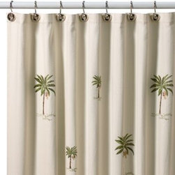 Croscill - Croscill Port of Call 70-Inch x 75-Inch Shower Curtain - A palm tree motif adds a laid-back look to these textured shower curtains. An easy way to add a bit of the tropics to any bathroom.