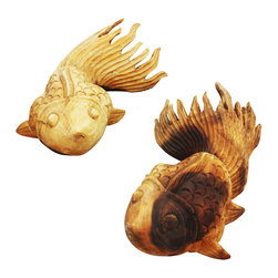 Kammika - Carved Puff Fish L&R Set of 2 Monkey Pod Wood each 15 L x 8.5 W x 5.5 H Tung Oil - Our Decorator Sustainable Monkey Pod Wood Carved Puff Fish Left Hand and Right Hand Set of two with Eco Friendly Natural Food-safe Tung Oil Finish art decor items are captivating. Each intricately carved Puff Fish, 15.25 inch length x 8.5 inch width x 5.5 inch height with Eco Friendly Tung Oil Finish, is fun to look at and display. You can hang on a wall simulating swimming upstream, or place on pebbles in a garden scene indoor or outdoor. Grouped or alone, these beautiful fish are definitely a conversation item. Eco friendly, natural, Tung oil finish brings out and highlights the natural swirls and grain of the wood. These items have cracked naturally and may continue to do so a little more. Made from the remainders of our wood carvings, sustainable materials are worked by artisans to create unique eco friendly works of art. Natural Tung oil, polished to a matte, water resistant and food safe finish turns the light and dark portions to darker shades of brown over time, and the alkaline in the oil creates a honey orange color. These natural oils are translucent, so the wood grain detail is highlighted. There is no oily feel, and cannot bleed into carpets. Made from the thick branches of the Acacia tree - where each branch is cut and carved to order (allowing the tree to continue growing), all products are dried in solar or propane kilns. No chemicals are used in the process, ever. Each piece is kiln dried, sanded, rubbed with eco friendly Tung oil; and then they are packaged with cartons from recycled cardboard with no plastic or other fillers. The color and grain of your piece of Nature will be unique, and may include small checks or cracks that occur when the wood is dried. Sizes are approximate. Products could have visible marks from tools used, patches from small repairs, knot holes, natural inclusions or holes. There may be various separations or cracks on your piece when it arrives. There may be some slight variation in size, color, texture, and finish color.Only listed product included.