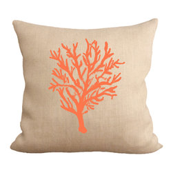 Fiber and Water - Hand-Pressed Coral Reef Pillow - A bright & nautical depiction of a Coral Reef. Hand-pressed onto natural burlap using water-based inks.