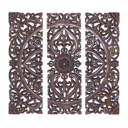 UMA - Classic Medallion Wood Wall Grille Set of 3 - Three panels comprise one image where pointed leaf shapes, vines and scrolls embellish a central flower.